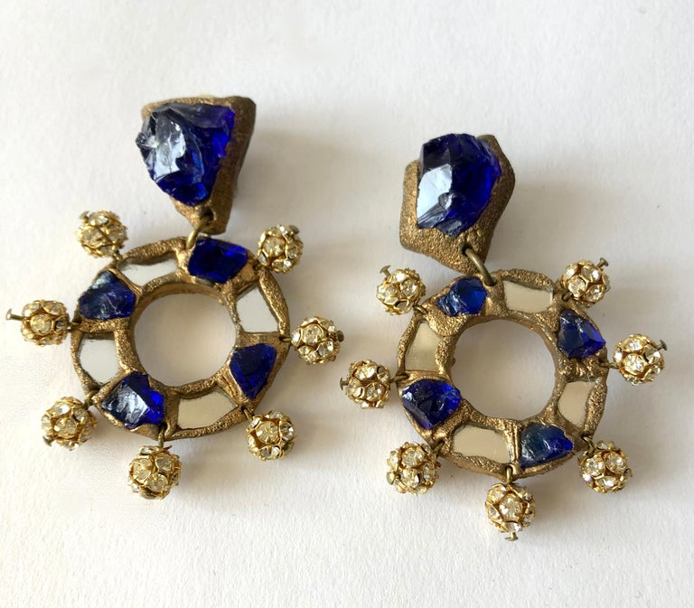 Artisan Christian Lacroix Luxe Line French Runway Glass Mirror Earrings For Sale