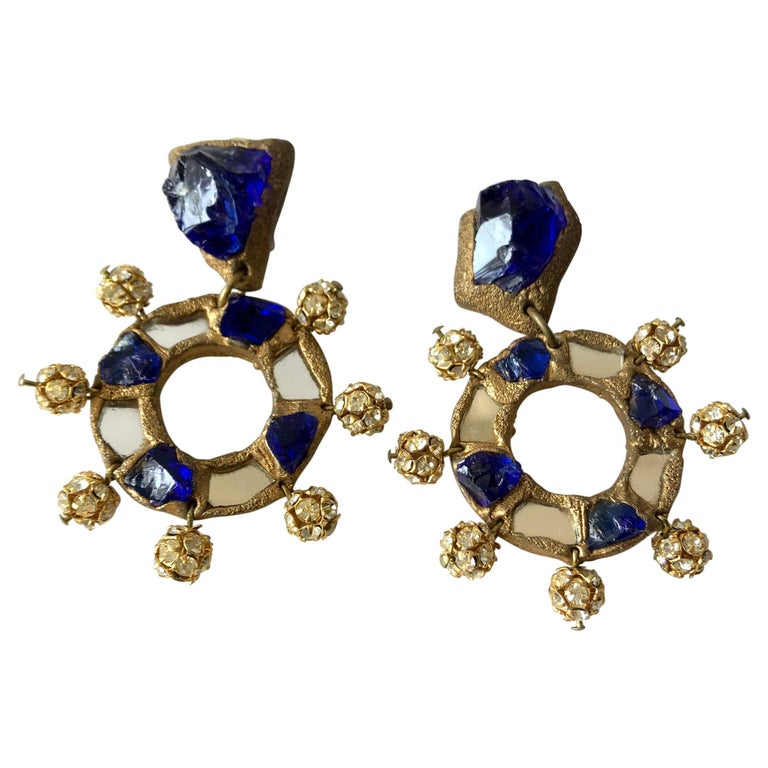 Christian Lacroix Luxe Line French Runway Glass Mirror Earrings For Sale