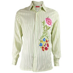 Christian Lacroix Mens Vintage Floral Embroidered Shirt