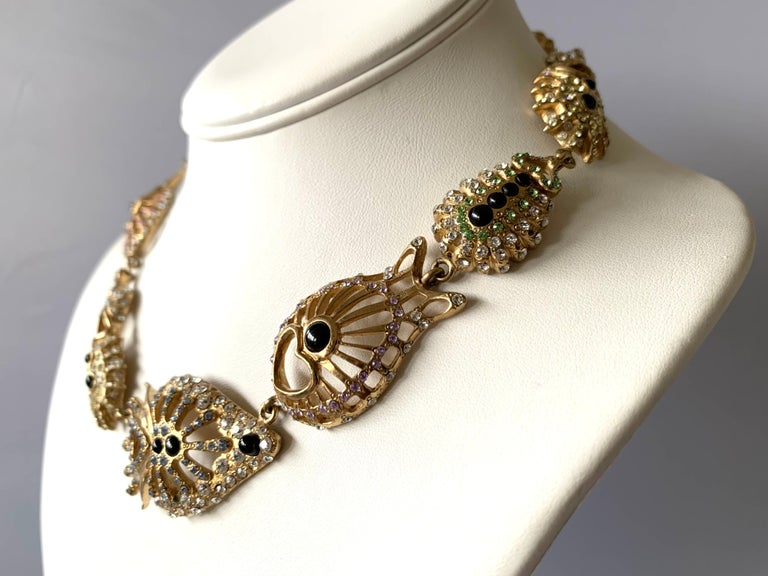Exquisite vintage Christian Lacroix jeweled three-dimensional statement necklace comprised out of gilt metal