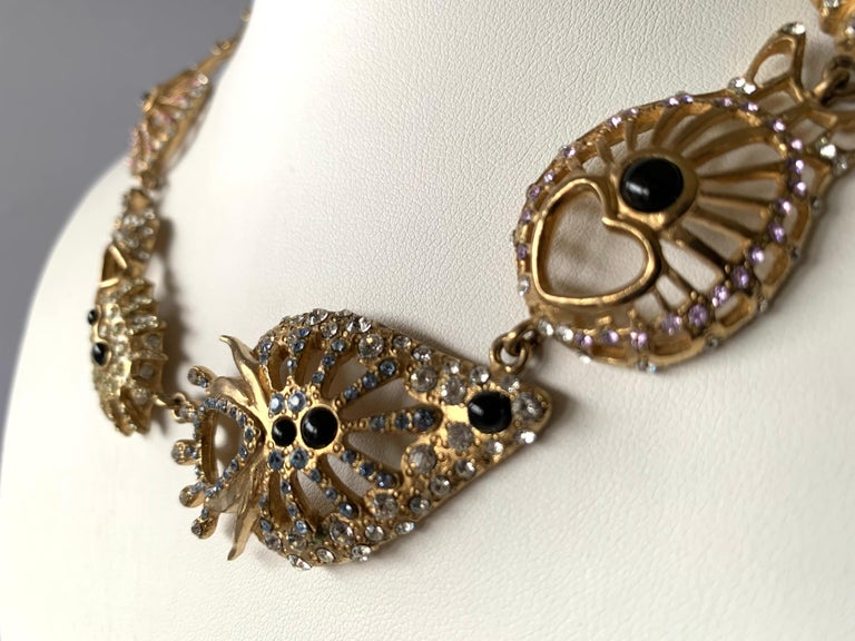 Christian Lacroix Modernist Diamante Statement Necklace  In Excellent Condition For Sale In Palm Springs, CA