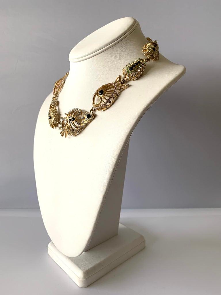 Women's Christian Lacroix Modernist Diamante Statement Necklace  For Sale
