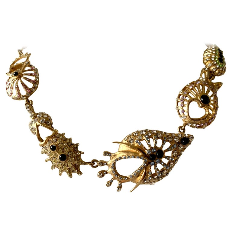 Christian Lacroix Modernist Diamante Statement Necklace  For Sale