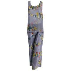 Christian Lacroix Modernist Floral Print Silk Top and Trouser Set  L