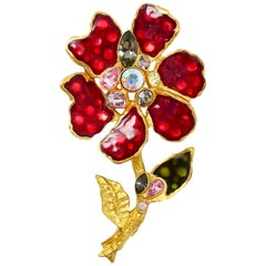 Christian Lacroix Multi-Color Flower W/ Crystals Brooch/Pin