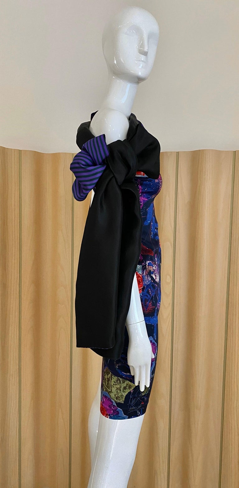 Christian Lacroix Multi Color Print Dress with Bows In Excellent Condition For Sale In Beverly Hills, CA