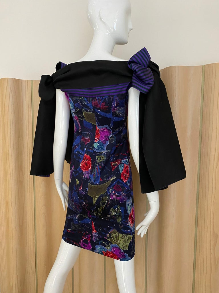 Christian Lacroix Multi Color Print Dress with Bows For Sale 1