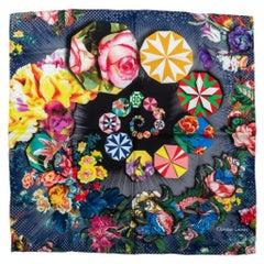 Christian Lacroix New Blue Silk Multicolor Scarf