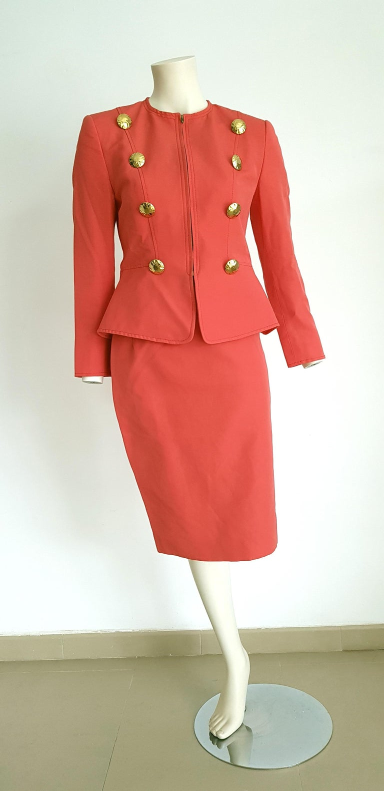 Christian LACROIX jacket and skirt cotton salmon color suit - Unworn, New  SIZE: equivalent to about Small / Medium, please review approx measurements as follows in cm.  JACKET: lenght 61, chest underarm to underarm 47, bust circumference 84,