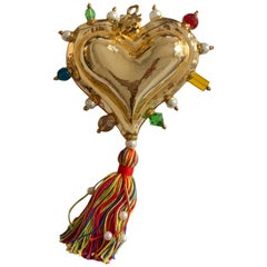 Christian Lacroix New Gold Hand Blown Glass Heart Ornament with Tassel