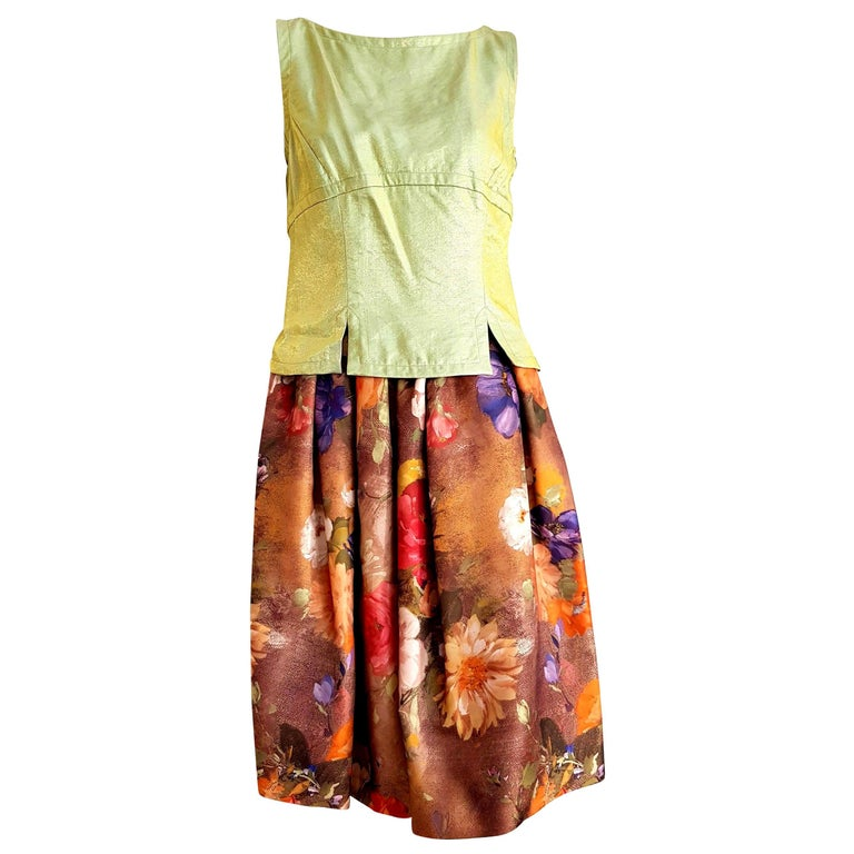 """Christian LACROIX """"New"""" Green top Artwork floral theme skirt - Unworn with tags For Sale"""