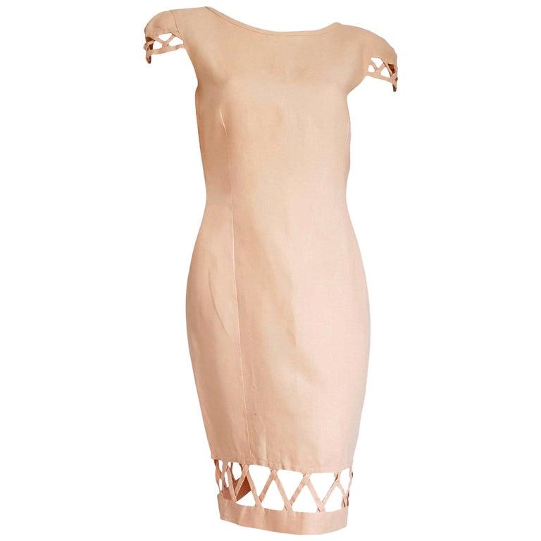 "Christian LACROIX ""New"" Haute Couture Light Salmon Irish Linen Dress - Unworn"