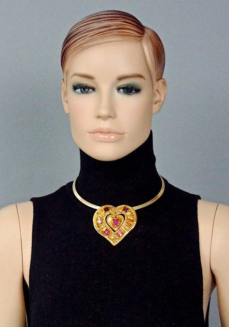 Women's CHRISTIAN LACROIX NOEL 1992 Limited Edition Heart Brooch Pendant Necklace For Sale