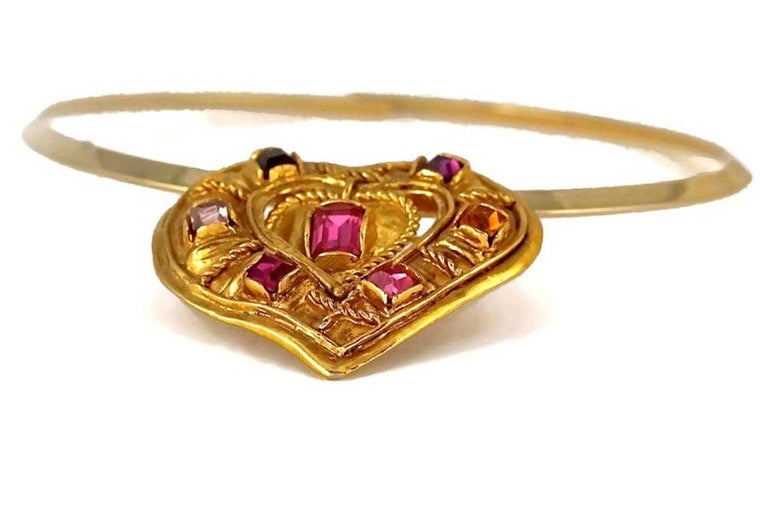 CHRISTIAN LACROIX NOEL 1992 Limited Edition Heart Brooch Pendant Necklace For Sale 2