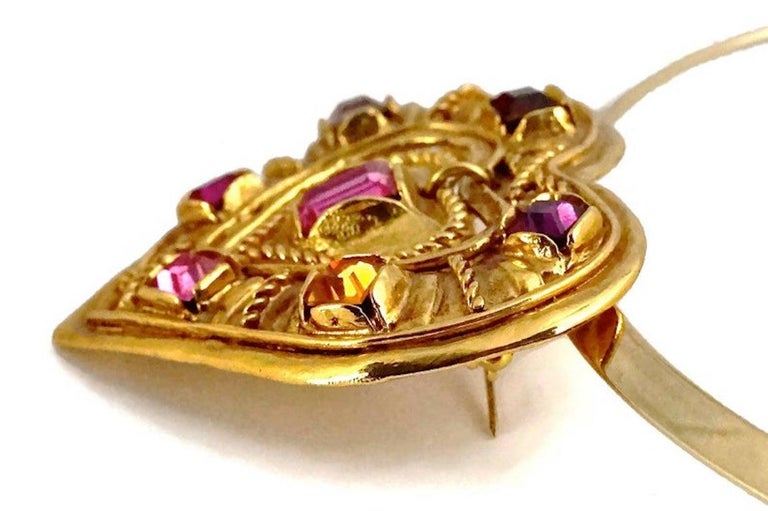 CHRISTIAN LACROIX NOEL 1992 Limited Edition Heart Brooch Pendant Necklace For Sale 3