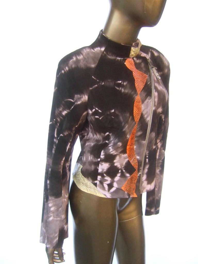 Christian Lacroix Paris Brown Suede Snakeskin Trim Zippered Jacket  For Sale 5