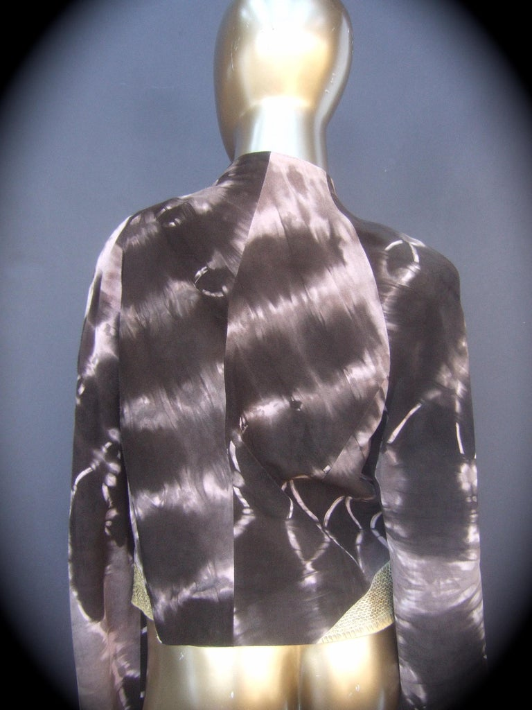 Christian Lacroix Paris Brown Suede Snakeskin Trim Zippered Jacket  For Sale 6