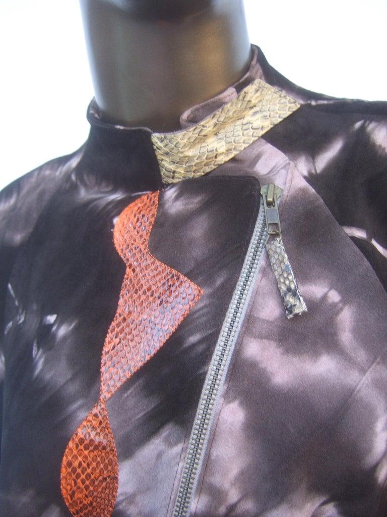 Christian Lacroix Paris Brown Suede Snakeskin Trim Zippered Jacket  For Sale 8