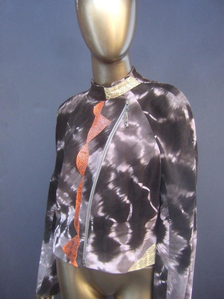 Christian Lacroix Paris Brown Suede Snakeskin Trim Zippered Jacket  For Sale 9
