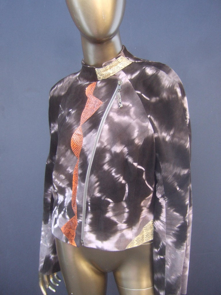 Christian Lacroix Paris Brown Suede Snakeskin Trim Zippered Jacket  For Sale 10