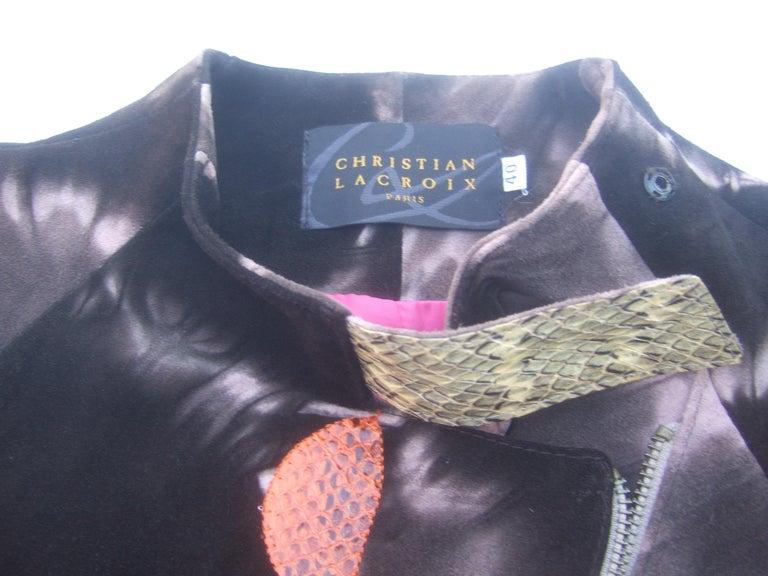 Christian Lacroix Paris Brown Suede Snakeskin Trim Zippered Jacket  For Sale 12