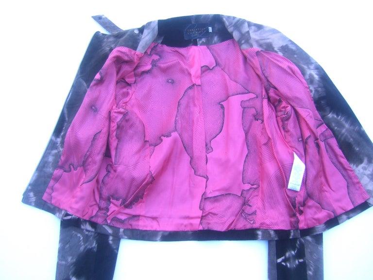 Christian Lacroix Paris Brown Suede Snakeskin Trim Zippered Jacket  For Sale 13