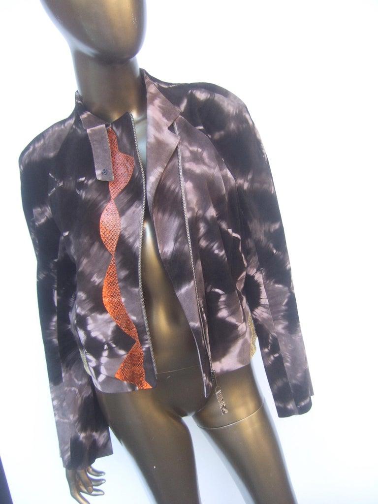 Christian Lacroix Paris Brown Suede Snakeskin Trim Zippered Jacket  For Sale 14