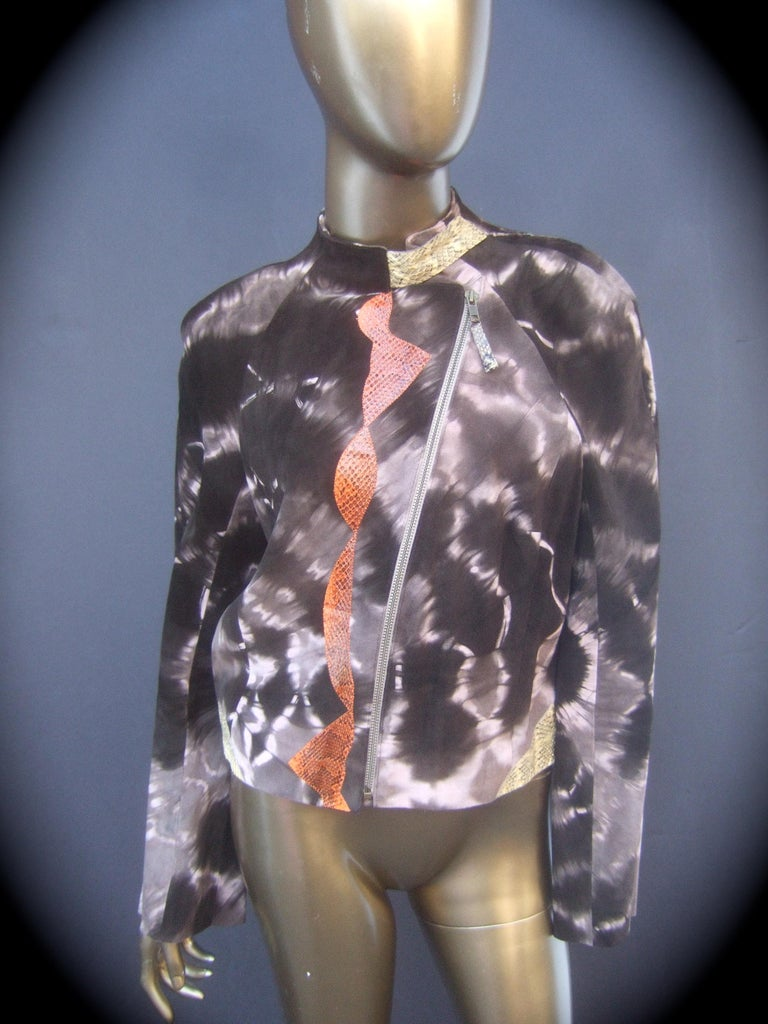 Christian Lacroix Paris Brown suede snakeskin trim zippered jacket. c 21st Size 40  The edgy avant-garde zippered jacket is constructed with plush dark brown soft suede that has a tye-dyed splatter design with streaks of lighter color beige