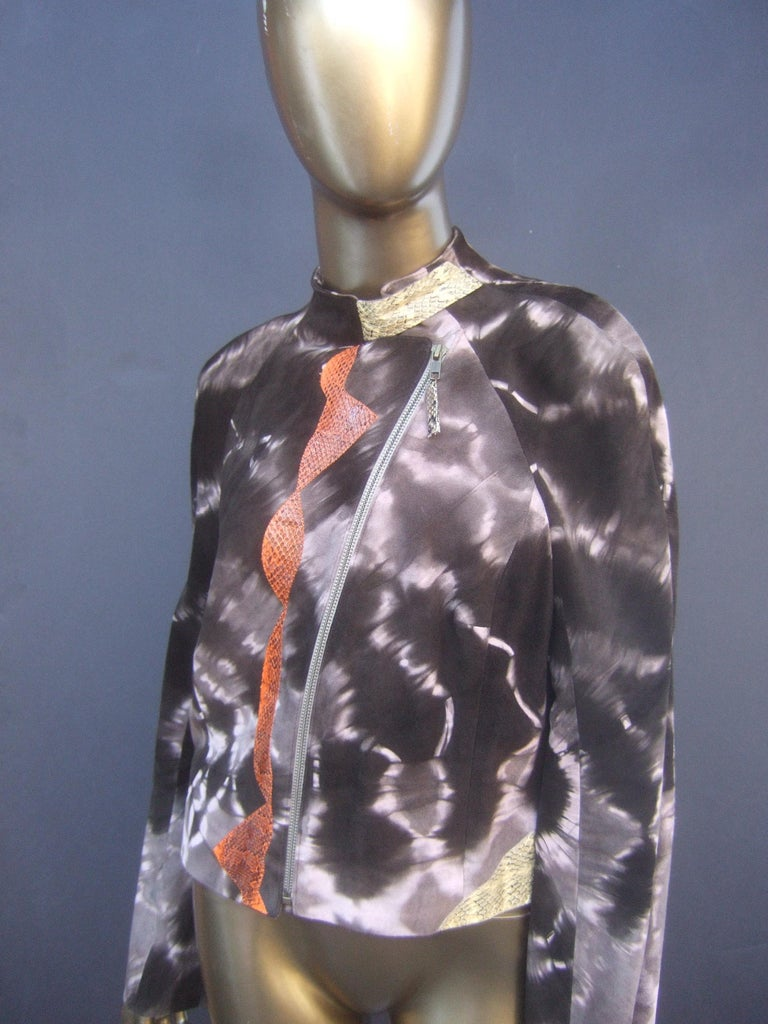 Gray Christian Lacroix Paris Brown Suede Snakeskin Trim Zippered Jacket  For Sale