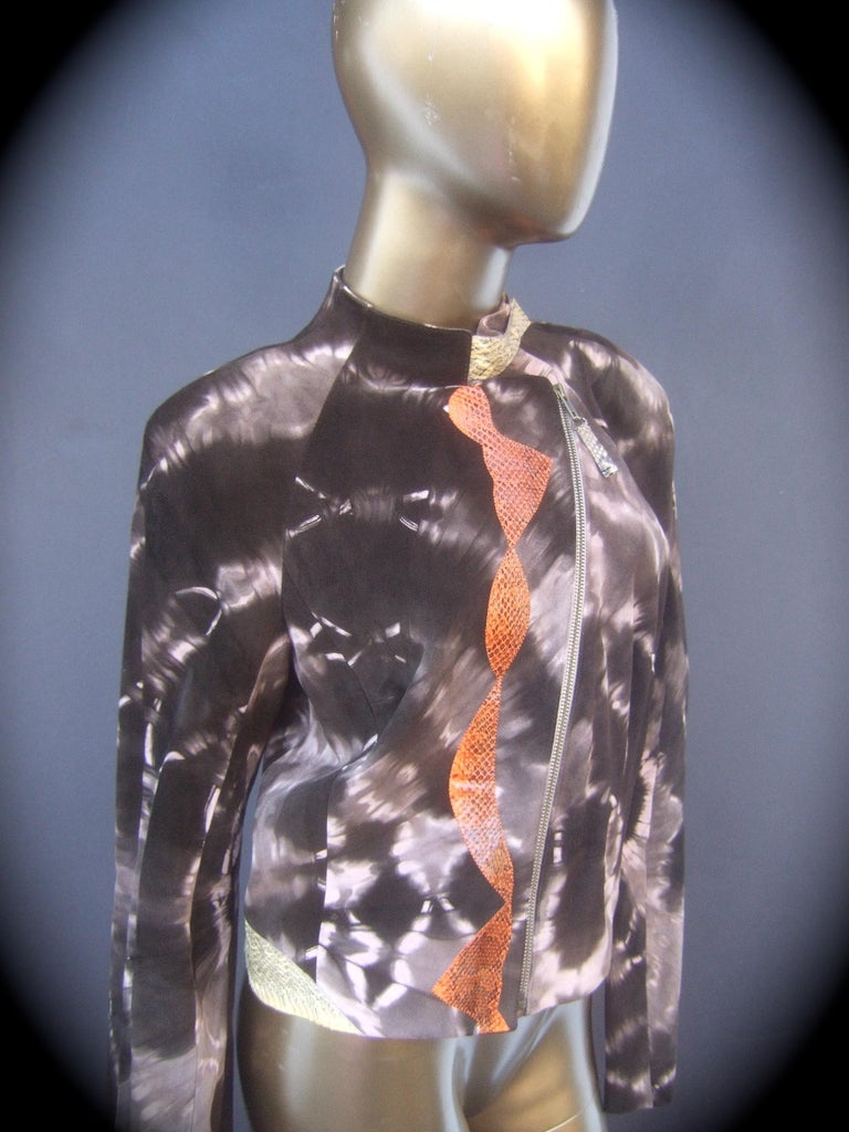 Christian Lacroix Paris Brown Suede Snakeskin Trim Zippered Jacket  In Good Condition For Sale In Santa Barbara, CA