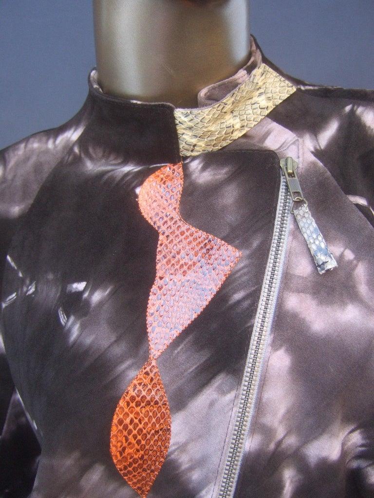 Women's Christian Lacroix Paris Brown Suede Snakeskin Trim Zippered Jacket  For Sale