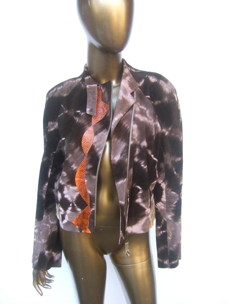 Christian Lacroix Paris Brown Suede Snakeskin Trim Zippered Jacket  For Sale 2