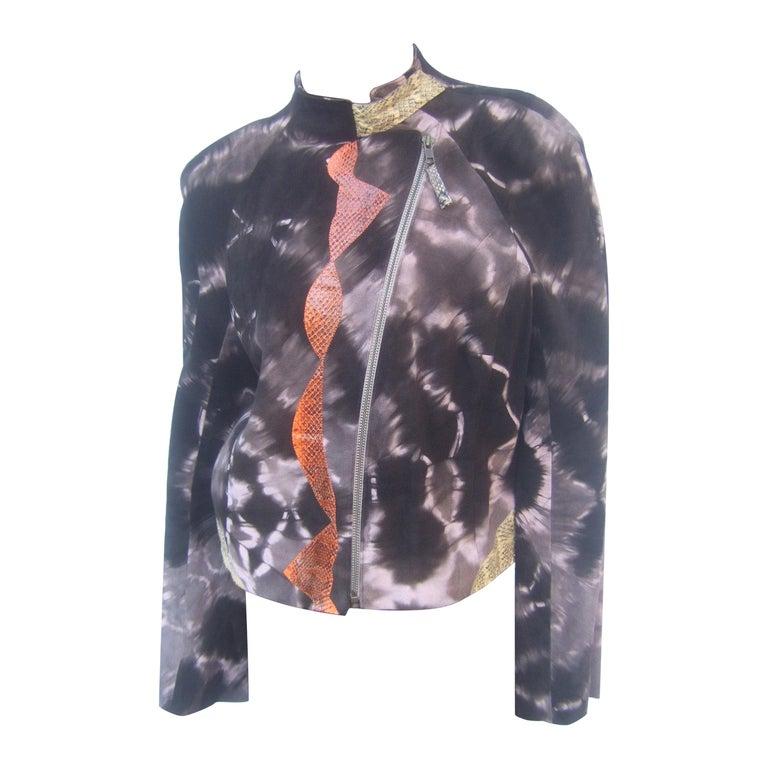 Christian Lacroix Paris Brown Suede Snakeskin Trim Zippered Jacket  For Sale