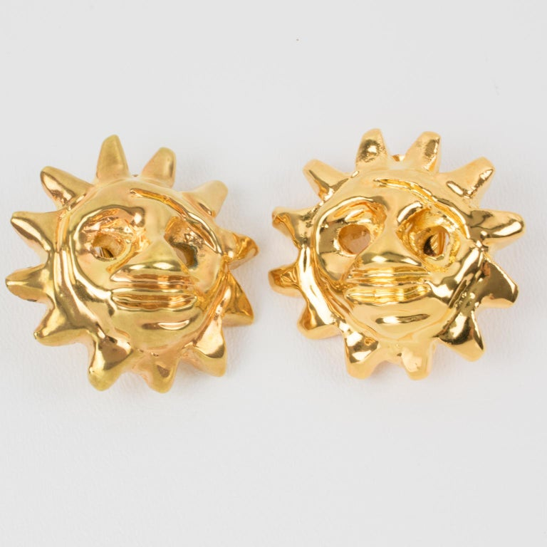 Christian Lacroix Sun Mask Clip Earrings  In Excellent Condition For Sale In Atlanta, GA