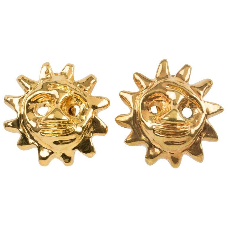 Christian Lacroix Sun Mask Clip Earrings  For Sale