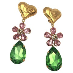 Christian Lacroix Paris ear clips with heart and rhinestones