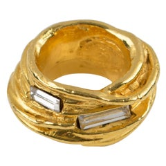 Christian Lacroix Paris Gold Plate Cocktail Ring Crystal Rhinestone size 5.25