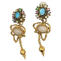 Christian Lacroix Paris hanging ear clips gold plated 1980s