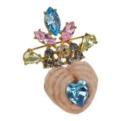 Christian Lacroix Paris Jeweled Heart Pin Brooch