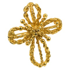 Christian Lacroix Paris Pin Brooch Gilt Metal Rope Cross