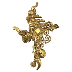 Christian Lacroix Paris stylized cross brooch gold plated 1980s