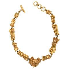 Christian Lacroix Paris vintage gold toned link necklace 1980s