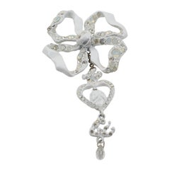 Christian Lacroix Paris White Enamel Bow Pin Brooch