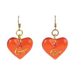 Christian Lacroix Pierced Earrings Neon Orange Resin Heart