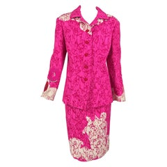 Christian Lacroix Pink Embroidered Silk Applique Skirt Suit 1990s
