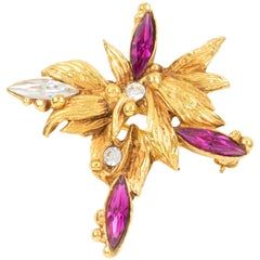 Christian Lacroix Pink Jeweled Floral Pin Brooch