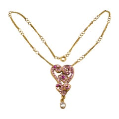 Christian Lacroix Pink Jeweled Heart Pendant Necklace