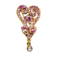 Christian Lacroix Pink Jeweled Heart Pin Brooch