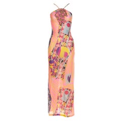Christian Lacroix Printed Dress with Keyhole and Tie at Neck