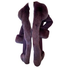 Christian Lacroix Purple Pure Cashmere Coat with Fox Trim